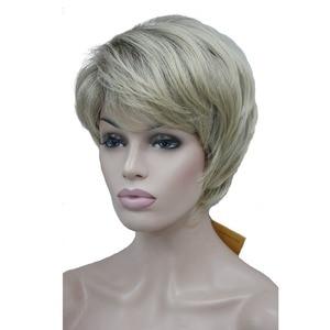 Image 4 - StrongBeauty frauen Perücken Natürlichen Flauschigen Asche Blonde Kurze Gerade Synthetische Volle Perücke 7 Farbe