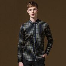 Бренд DANDY Homme Мужская модная брендовая одежда Хлопковая мужская одежда рубашки в полоску slim fit с длинным рукавом однобортные мужские рубашки