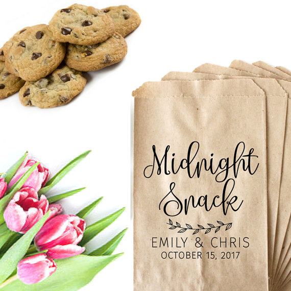 Custom Midnight Snack Wedding Candy Buffet Treat Gift Bar Petal Toss Bags Birthday Bridal Shower Bakery Cookie Favors Packets In Wring