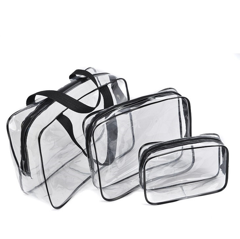 Transparent PVC Bag Travel Organizer Clear Beautician Cosmetic Bag Beauty Case Toiletry Make Up Pouch Wash Bag
