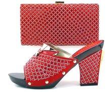 Italienische schuhe und taschen zu passenden pumpt schuhe hochzeit heels TH16-38 RED afrikanischen frauen schuhe und tasche set mit strass!