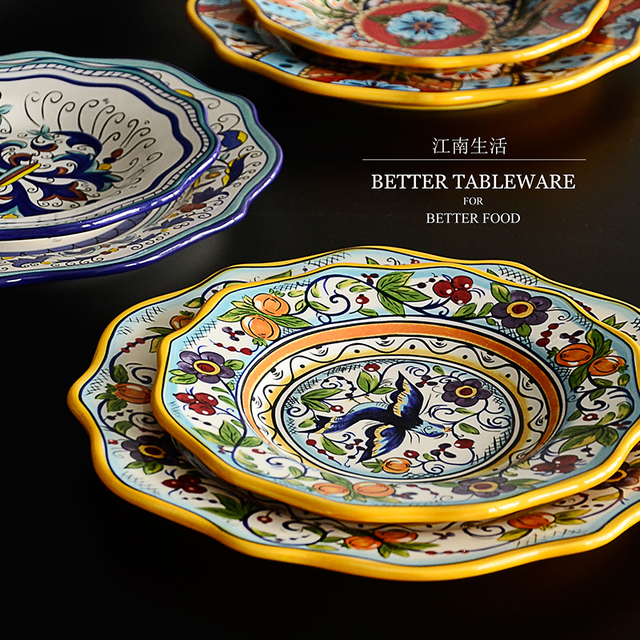 Ethnic Customs Series Bohemian Ceramic Tableware Colorful Lace European Western Plate Household Disk Dinner Plate Free & Ethnic Customs Series Bohemian Ceramic Tableware Colorful Lace ...