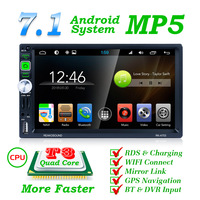 Dual android player android MP5 player 7 inch android universal player with Rear camer Remote Control USB/AUX/FM 2 din Car Radio