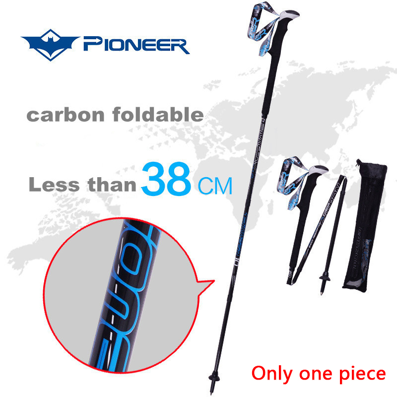 Professional font b Ski b font Snow Poles Foldable Crutch Carbon Fiber Sticks Walking Alpenstock For