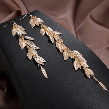Hesiod Vintage Long Leaf Statement Drop Earrings for Women Fashion Jewelry Korean Metal Geometric Gold Hanging Dangle Earring image