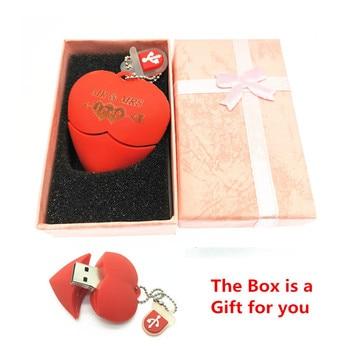 (over 10 PCS) Free LOGO customize Red heart wedding gift USB Flash 2.0 Memory Drive Stick Pen/Thumb 4gb 8gb 16gb 32gb 64gb + Box