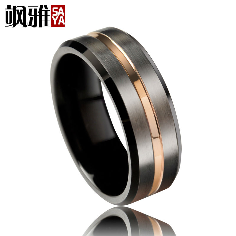 Trendy 8mm Mens Wedding Band Black Brused Tungsten Rings