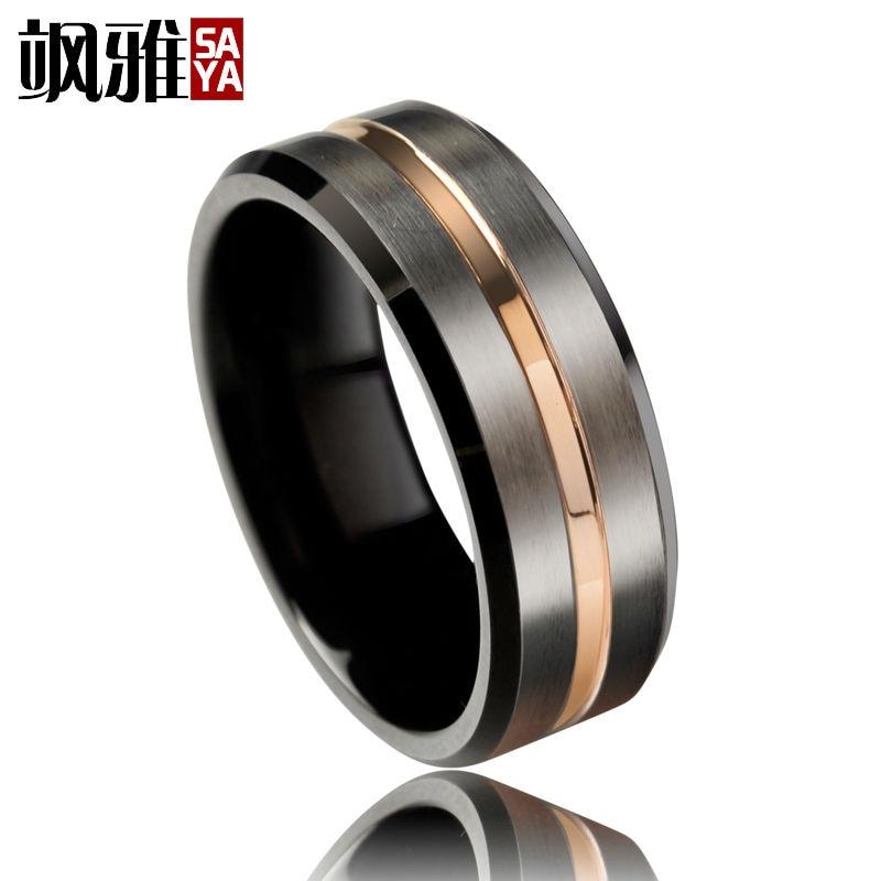 Trendy 8mm Mens Wedding Band Black Brused Tungsten Rings