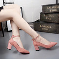Famiao women pumps wedding shoes 2017 new zapatos mujer  square heel pu pointed toe Hasp rivet chaussure femme talon
