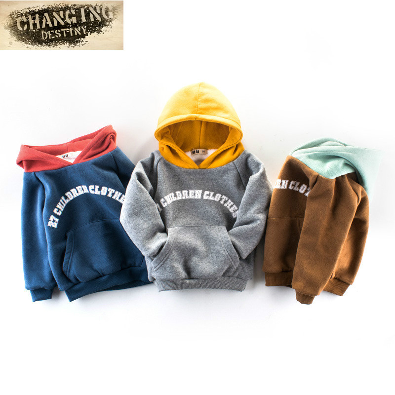 3-7 Years Old Boys Winter New Style Childrens Clothing Double Thick Sweater Boys Hooded Winter Top Childrens Clothing Top