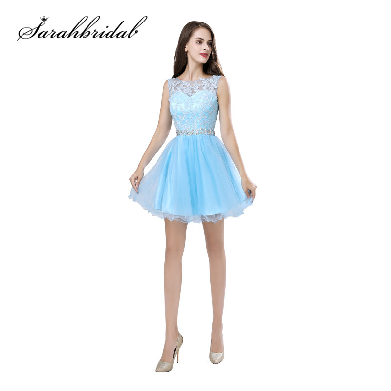 Cheap Short Prom Dresses Lace Top O-Neck Light Sky Blue Keyhole Back Mini Homecoming Party Gowns In Stock SD361