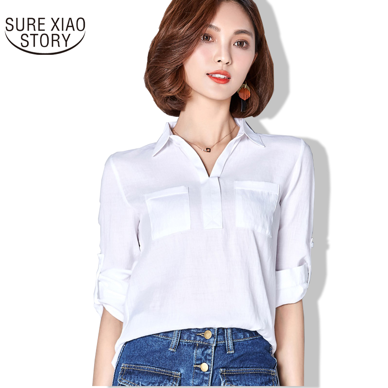 2017 Spring new arrival office lady wear simple wild cotton and linen shirt blue color shirt tops women's blouse 78i 30