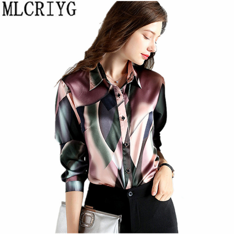 2019 Весенняя мода 100% шелковая блузка Офисная Женская рубашка рубашки с длинным рукавом Женские топы блузки размера плюс женская блуза YQ021