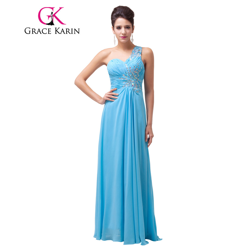 Grace Karin Evening Dress Beadings Sequined One Shoulder Long Prom Gowns Sky Blue Formal Night Dinner Elegant Evening Dress 2017