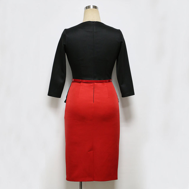 Womens Office Dress New Work Dresses 2018 Women Fashion Elegant Patchwork Business Bodycon Sashes Dress 2