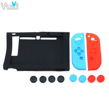 YuXi 11 in 1 Silicone Case for Nintendo Switch NS Host Screen Protective Skin Cover with Stick Grip Caps for Joy-Con Controller ivyueen 5 in 1 for nintend switch ns console handle grip protective cover with 4 thumb stick caps case for joy con controller