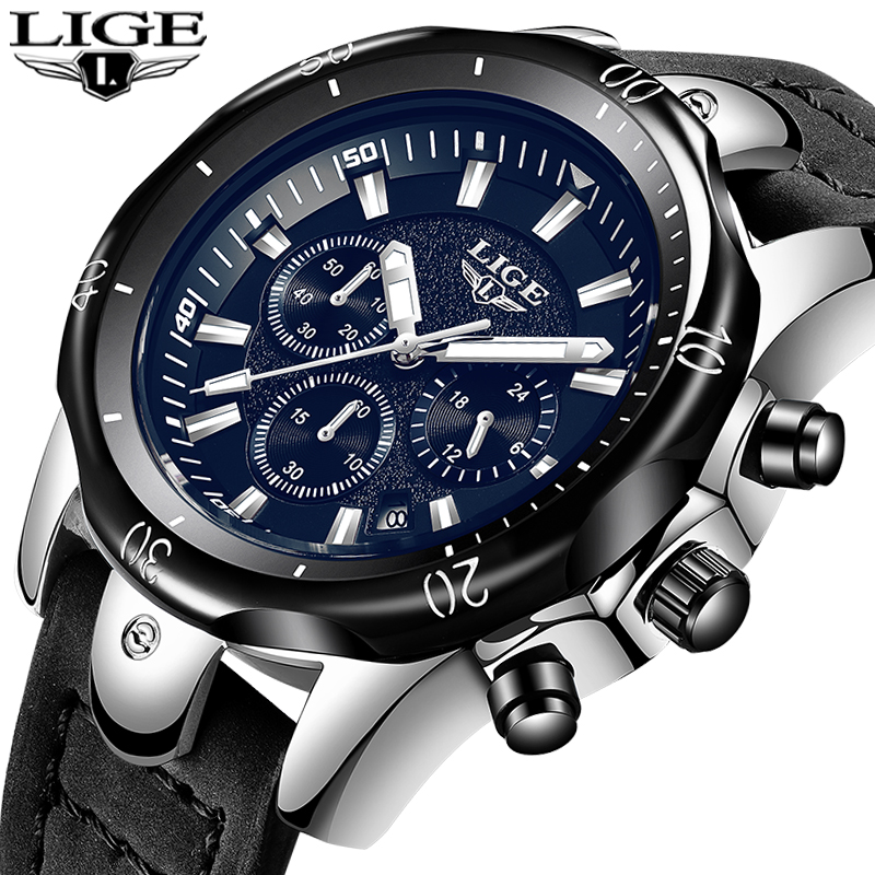 2018 LIGE New Mens Watches Brand Luxury Quartz Watch Men Casual Leather Military Waterproof Sport Wrist Watch Relogio Masculino