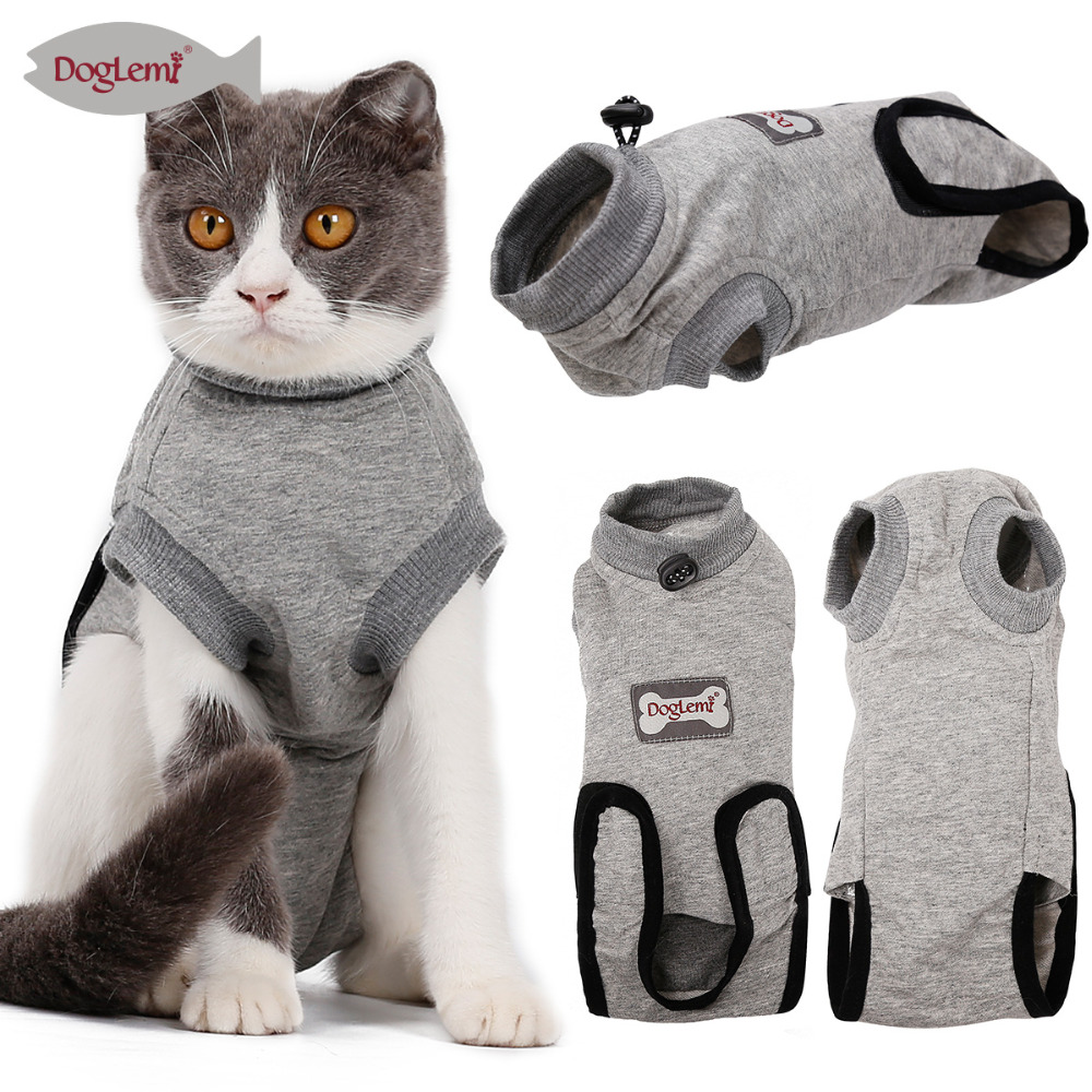 Modest Anti Bite Pet Cat Clothes Summer Cartoon Printed T Shirt Small Cats Surgical Gown Ablactation Clothing Soft Cotton Pet Costume Attractive Appearance Cat Supplies Pet Products