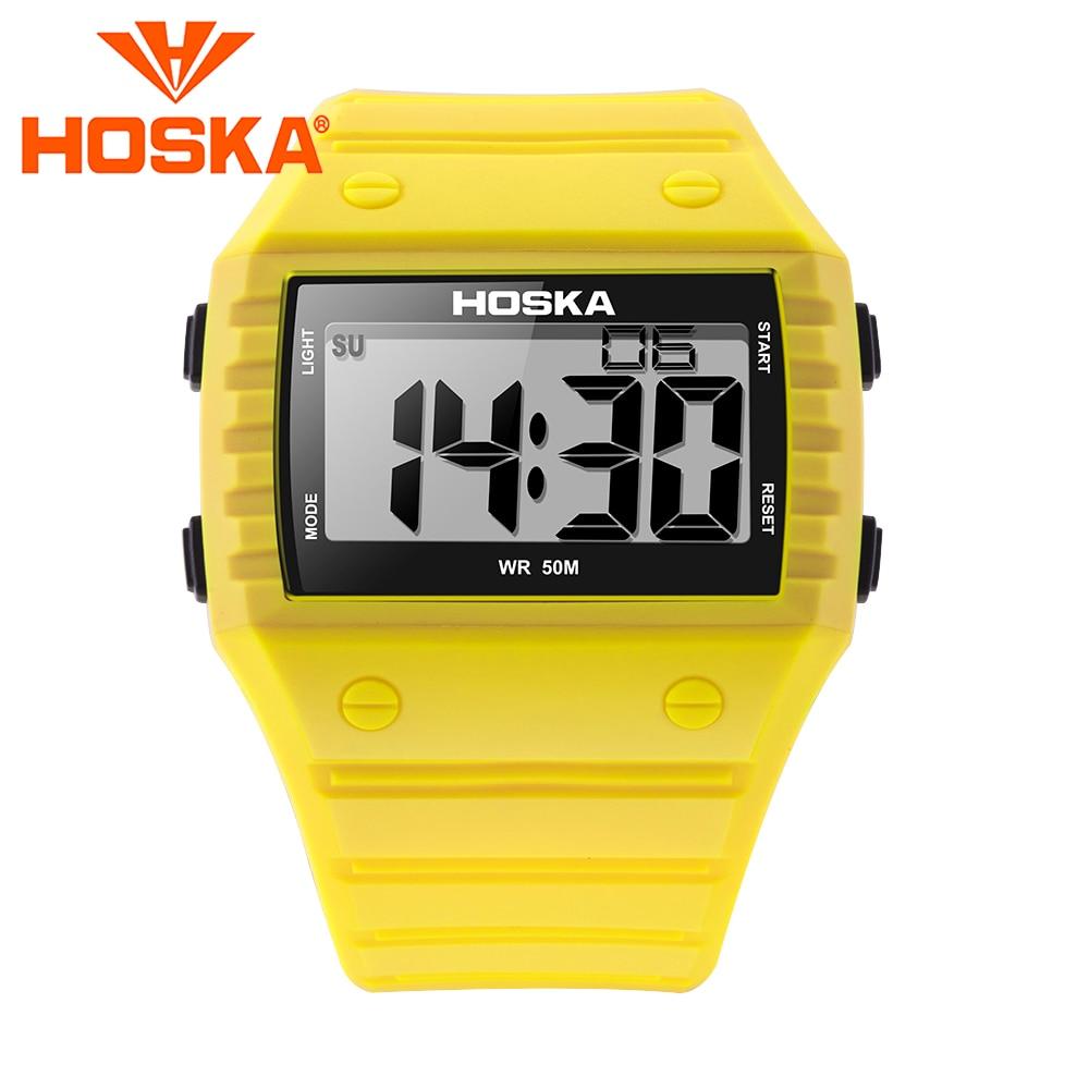 HOSKA student Men's watch led digital watch Men digital-watch Swimming sport outdoor waterproof 50M yellow цена