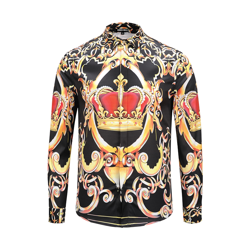 Freddie Mercury clothing new fashions men's shirt printed crown pattern western style shirt youth long sleeved cotton tops