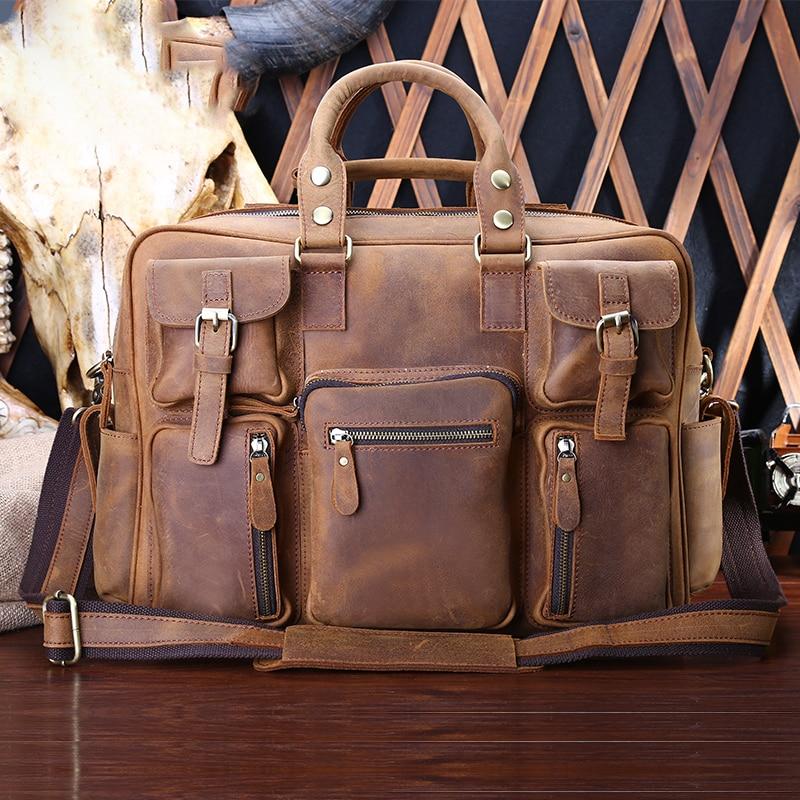Large Men Crazy Horse Leather Genuine Leather Handbags Several Pockets Leather Messenger bags Men A4 Bags Male Shoulder Bags