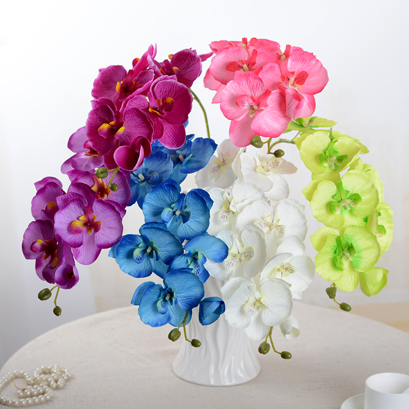 1pcs Fashion Butterfly Orchid Artificial Flowers Flower Head Party Home Christmas Wedding Decoration Accessory Fake Flower 52017(China)