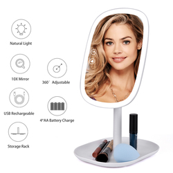 47 luces LED 360 espejo de escritorio giratorio pantalla táctil maquillaje espejo tocador profesional belleza ajustable encimera