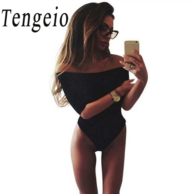 Tengeio лето женщины мода черный белый 3/4 рукавом sexy slash шеи с плеча комбинезон боди клуб one piece комбинезон