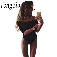 Tengeio Summer Women Fashion Black White 3/4 Sleeve Tops Sexy Slash Neck Off Shoulder Jumpsuit Bodysuit Club One Piece Jumpsuit