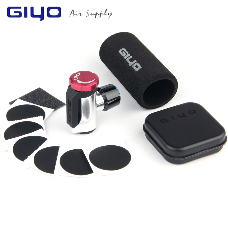 GIYO Co2 Pump For Bicycle Schrader Presta Adapter Bike Pump Inflator Aluminum Tire Tube Mini Hand Bicycle Pumps NO Co2 Cartridge