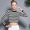 2016 Early Autumn Fashion Knitted Sweater Stripes Sweater Sleeve Head Hit Color Female College Wind Short Navel Sweater Girl