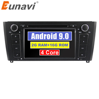 Eunavi 1 din 7'' Quad Core Android 9.0 Car multimedia DVD player GPS Navi Radio For 1 Series BMW E81 E82 2004 2012 OBD2 WIFI RDS