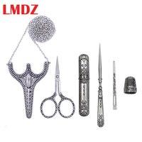 LMDZ 5pcs/ Set Vintage Silver Antique Crafts Embroidery Sewing Scissors Gift Thimble Needle Case Awl Tailor's Scissors