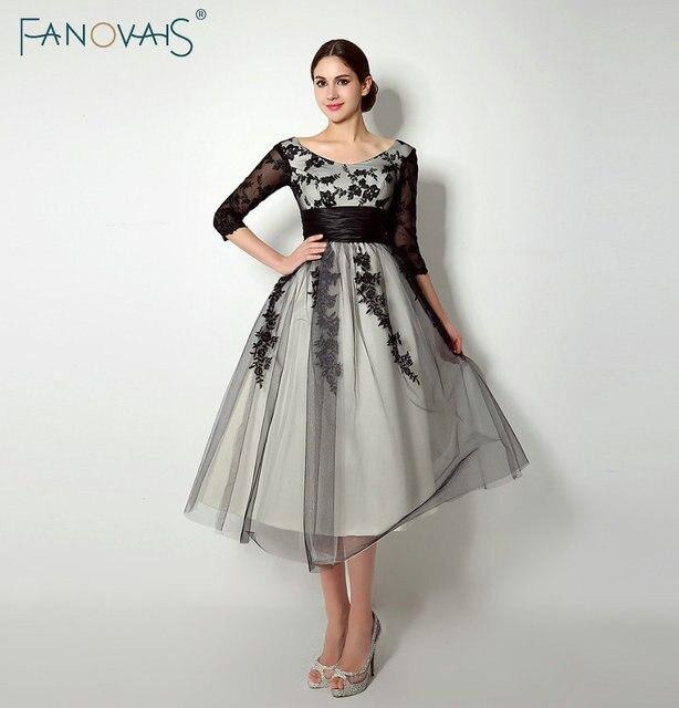 Scoop Neck Lace Appliques Tea length Evening Dresses Ball Gown ...