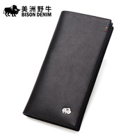 BISON DENIM Brand Men Wallet High Quality Genuine Leather Cowhide Credit Card Wallet Large Capacity Men