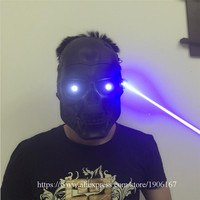 Led Luminous Blue Laser Halloween Ghosts Mask Illuminate Stage Performance Headwear Blue Laserman Party Masquerade Masks