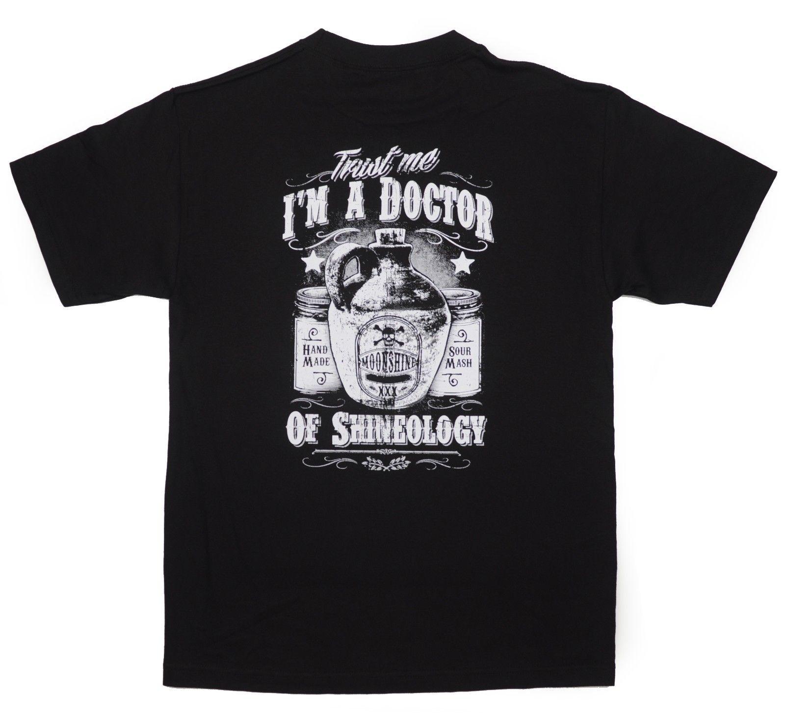 2018 Stile di Estate di Modo Moonshine Whisky T-Shirt Nera Medico Shineology Rye Americano Ha Fatto Del Cranio BABA Tee shirt