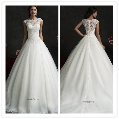 a4a7b7c3ca33 Glamorous Amelia Sposa 2016 Spring Sheer Top Lace A Line Wedding Dresses  Appliques Beads Backless Bridal Gown Cap Sleeves