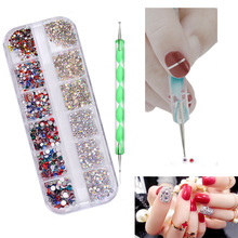 Pandahall Nail Art Diamonds Colorful Decorations fixed by Dotting Pen Tools
