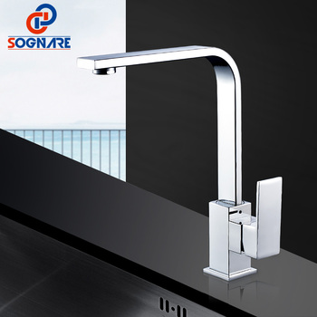 цена на SOGNARE Chrome Brass Kitchen Faucet 360 Swivel Single Handle Vessel Sink Mixer Tap Cold Hot Waterfall Kitchen Mixer Water Tap