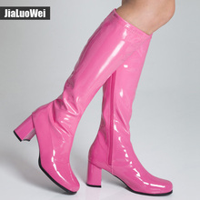Jialuowei Ladies Fashion Sexy Flat Square heel Shoes Spring/Autumn Square Toe Knee-High Long Boots Plus Size 36-46