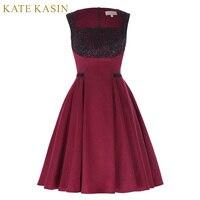 קייט Kasin רוקבילי Swing 50 s 60 s בציר שמלת רטרו נשים כיכר צוואר שרוולים Vestidos Feminino בורגונדי שמלת הפבורן