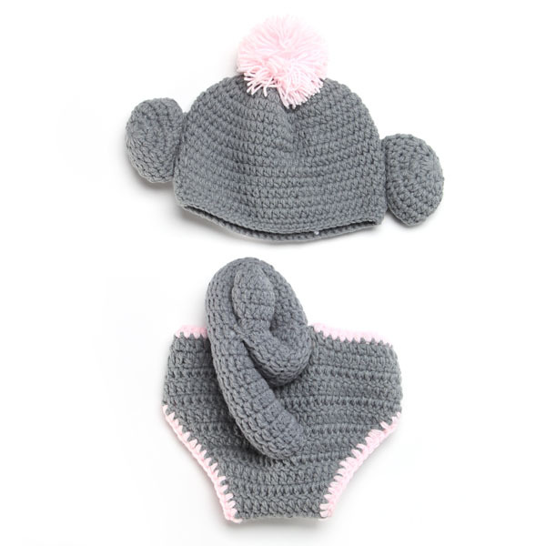 Sock Monkey Crochet Baby Hat With Diaper Cover Handmade Newborn