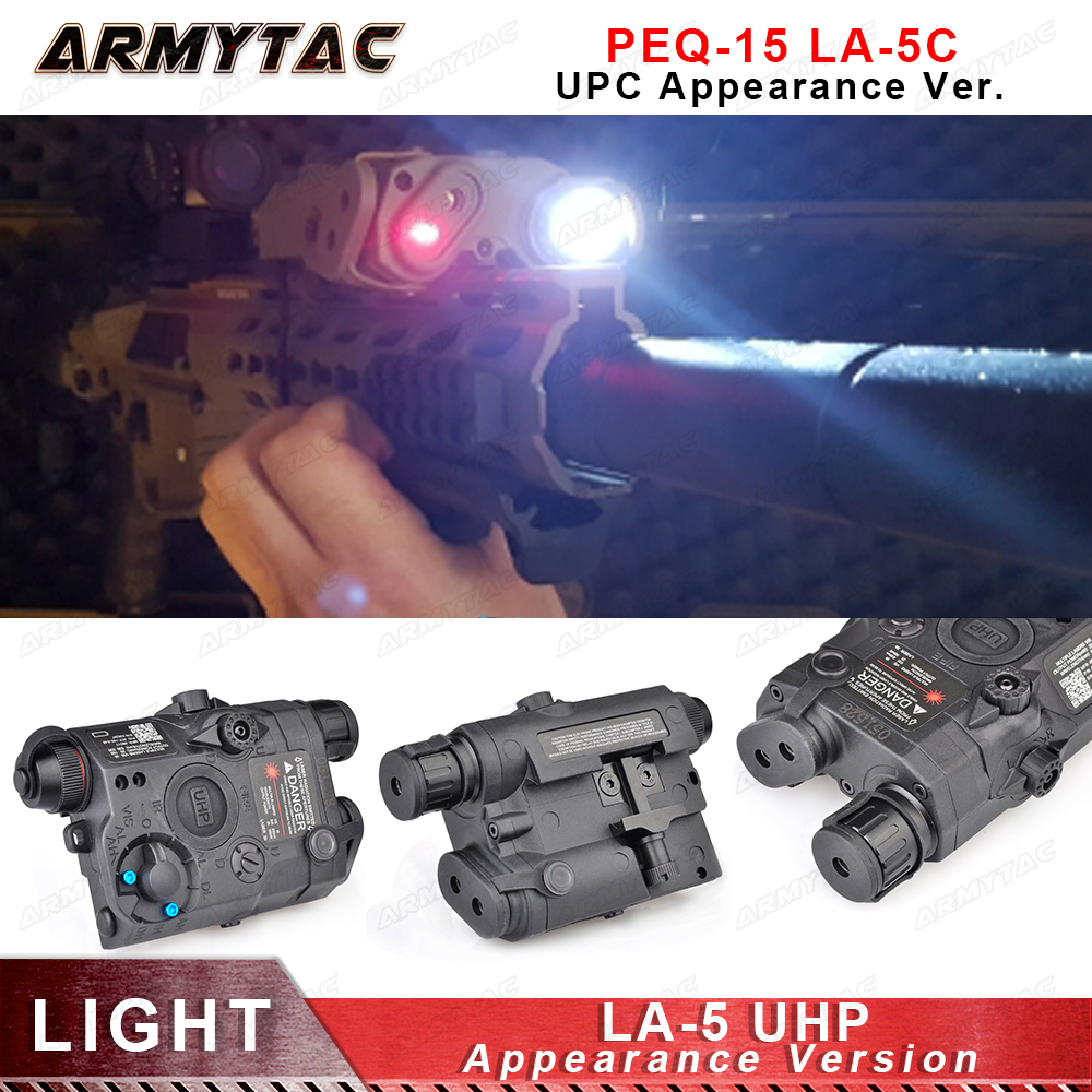 Airsoft LA-5 UHP Battery Case PEQ LED Flashlight Red Laser IR Laser SF LA5 Red laser tactical light Appearance Version Hunting peq15 la5 airsoft spotlight weapon shotguns light tactical flashlight military red dot ir laser pistol lanterna rifle lights