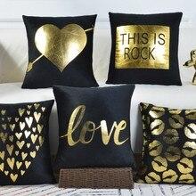 Чехол подушки Case черный бархат Золотое сердце любовь диван Чехлы дома декоративные стул кровать Чехлы 45x45 см B426