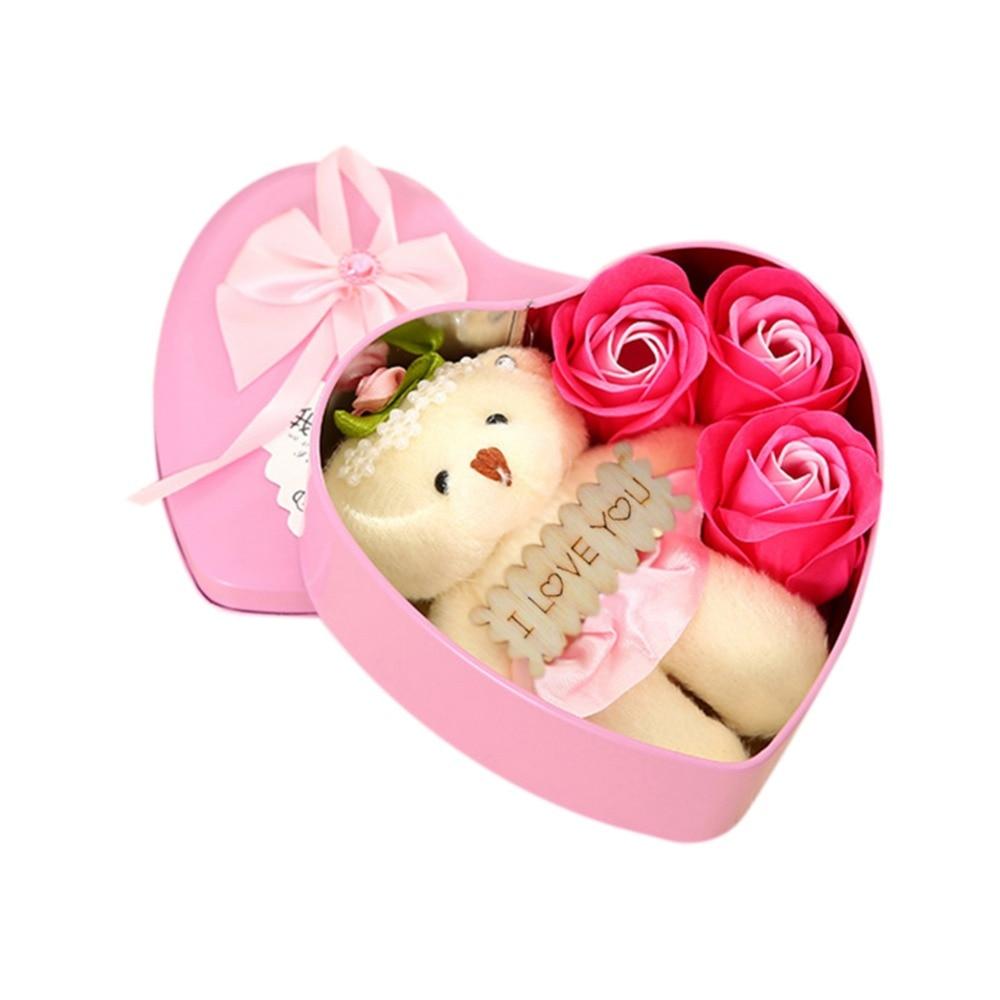 Belle Cadeau De Mariage De Coeur Fleur Ours Rose Fleur Savon De