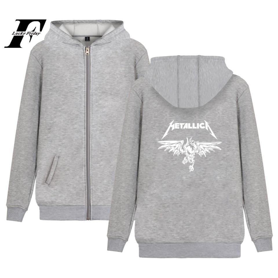 LUCKYFRIDAYF Metallica Hoodie Zipper Heavy Metal Sweatshirt Rock Band Coat Music font b Jacket b font