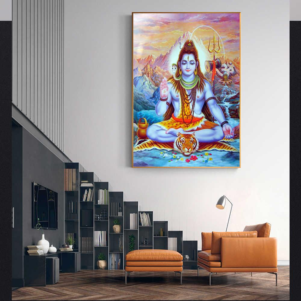 Pintura religiosa, carteles e impresiones decorativos para el hogar de los dioses hindúes, pinturas en lienzo de Ganesha