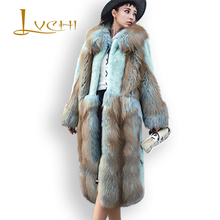 LVCHI 2017 Plus Size Loose Denmark Mink Velvet Women's Noble With Fox Fur Collar Real Fur Coat Leather Fur Travel Mink Coat