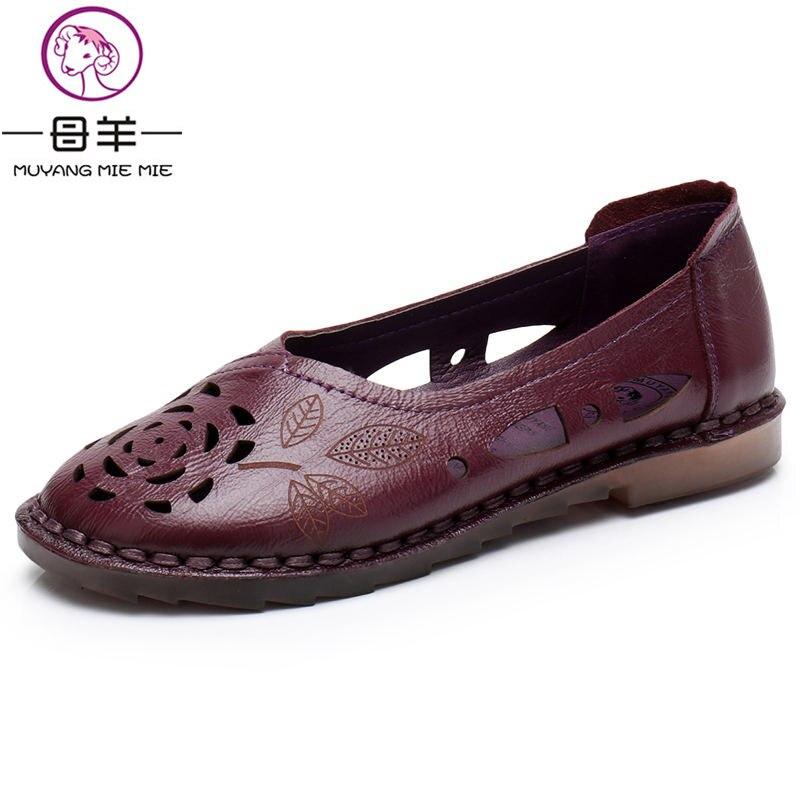 Femmes Beige Véritable pu noir D'été Mie Femme Muyang Cuir Plates Doux En Sandales gris pourpre Confortable Femelle Chaussures Mode Ciel AOqI6